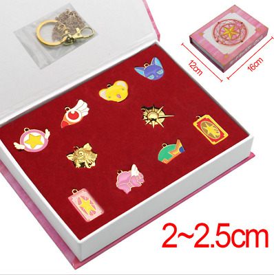 Anime Card Captor Sakura Keychain Pendant Necklace Sets Decorations In Box Gifts