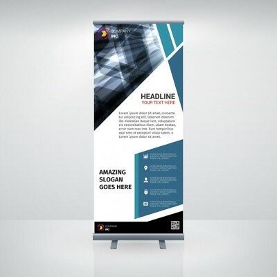 """NEW Retractable Pull Up Banner Stand 33""""x 79"""" WITH PRINTING- 13oz poly film one"""
