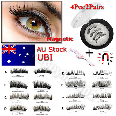 3D Magnetic False Eyelashes Natural Eye Lashes Extension Tweezer 4Pcs/2Pairs