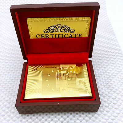 Waterproof Gold Foil Plated Poker Playing Cards EUR Traditional Set & Wood Box