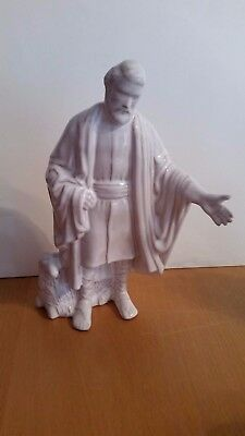 Frankoma Nativity White Shepherd with Lamb at base Mint