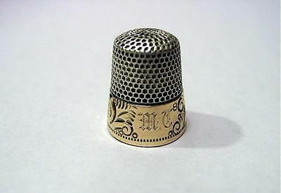 Fine Ketcham McDougall Sterling Thimble W/ Gold Raised Scrolls Band Sz 8 Ca 1900