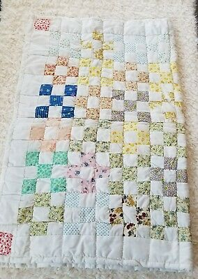 Handmade Quilted Unisex Baby Blanket Multi Color 32' x 42'