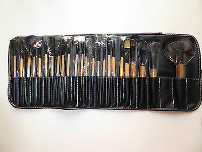 24 Pce Makeup Brush Set in Black Roll Carry Case, RRP $139, BRAND NEW