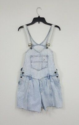 Vintage 80's GUESS Georges Marciano Light Wash Cut Off Overalls Shorts Sz 4