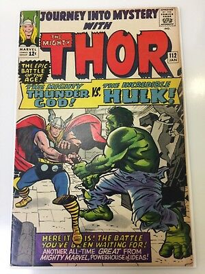 Rare 1965 Silver Age Journey Into Mystery #112 Key Thor Hulk Battle Nice Grade!!
