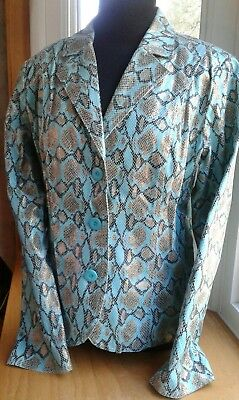 Bamboo Traders Jacket Blazer Snake Turquoise, Brown, Gold Flocked Lined Size M