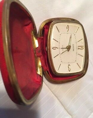Vintage Europa Wind Up Travel Alarm Clock Red Case 2 Jewels A1