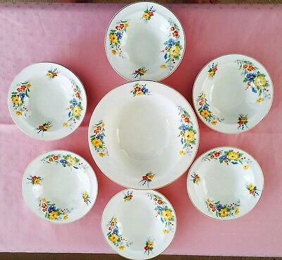 Vintage British Anchor England Pottery Set Of Seven Dessert Bowls C1945+