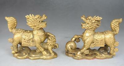 Chinese old Brass Copper Animal Fengshui kylin unicorn Foo Dog pair Statue