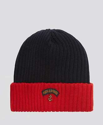 NEW Paul & Shark Bretagne  Anchor winter hat Cappello Beanie Cap Blue and Red