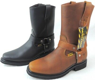 Men's Biker Work Boots Cowboy Leather Square Toe Rodeo Black Brown Western