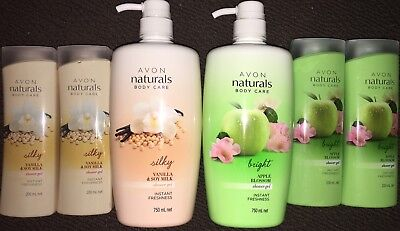 Avon 6 x Naturals Shower Gels in Vanilla & Soy Milk & Apple Blossom