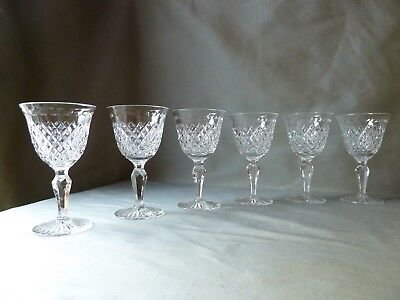 6 Stuart Crystal Hardwicke Cut Wine Glasses,  Signed, h12,6cm