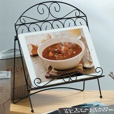 Wire Cookbook Holder Black Decorative Ornamental Design Keep Recipe While Coking