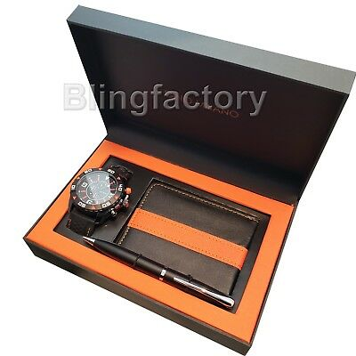 Men's Gino Milano Black Silicone Band Watch With Wallet and Pen Gift Combo Set