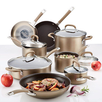 Circulon Premier Professional Hard Anodized 13 Piece Non Stick Pan Set Bronze