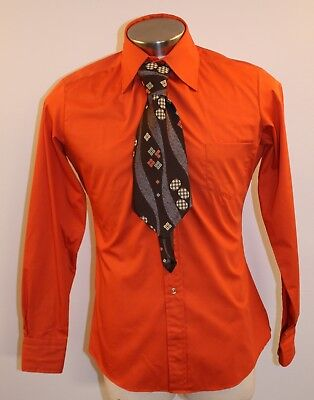 "Small / Medium  15 New Original Vintage Mens Orange Shirt & Tie. ""Fabiani"" Slim"