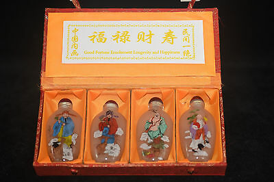 "4pc Chinese folk Inside painted ""福禄财寿"" glass snuff bottle"