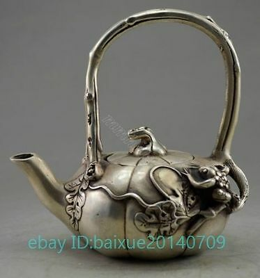 Collectible Decorated Old Handwork Tibet Silver Carved Frog On Pumpkin Tea Pot