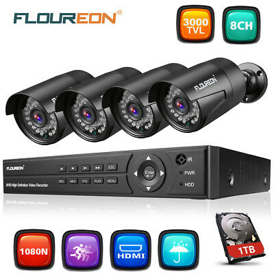 FLOUREON 8CH 1080P DVR 3000TVL AHD HDMI Home CCTV Security Camera System 1TB HDD