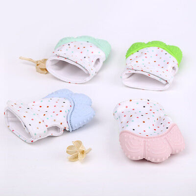 2x Silicone Baby Mitt Teething Mitten Teething Glove Candy Wrapper Sound Teether