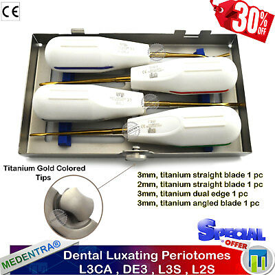 X4 Dental Elevators Tooth Loosening Dentistry Periotomes Extraction Tools + Tray