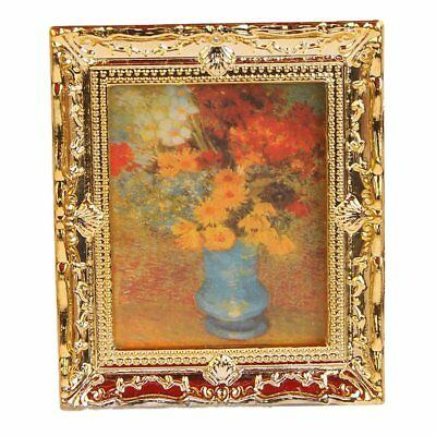 5X(1:12 Golden Plastic Frame Flower Oil Painters Miniature Dollhouse Furniture A