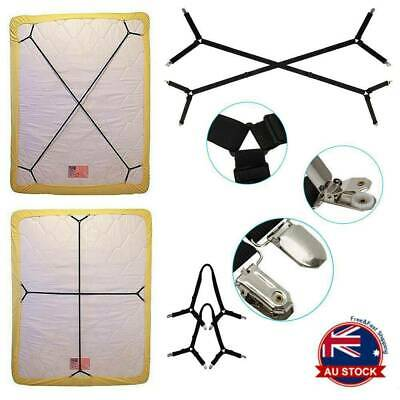 Elastic Crisscross Bed Mattress Sheet Straps Clips Grippers Fasteners Suspender