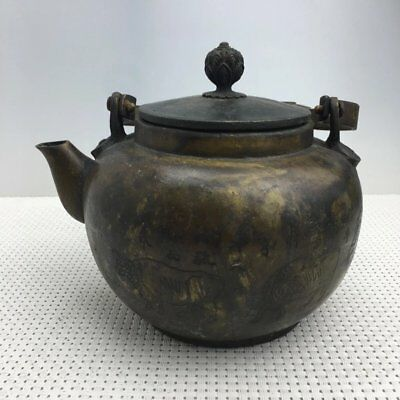 chinese old copper hand engraving cow teapot flagon