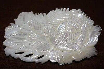 Mother Of Pearl Carved Flower Brooch Pin Here In Hawaii