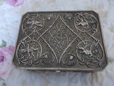 Vintage Silver Plated Decorative Cherub /floral Casket/jewellery Box