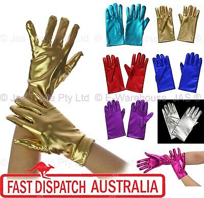 Fancy Dress Costume 70s 80s Party Dance Disco Metallic Vinyl Stretch Gloves