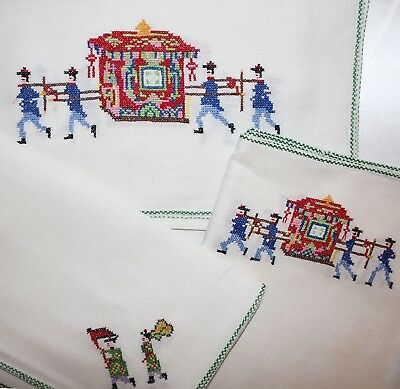 17 PC VTG Ancient Chinese Sedan Chair Linen Placemats, Napkins, Table Runner NEW