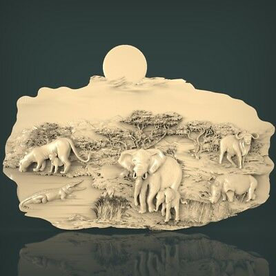 (1018) STL Model Wildlife for CNC Router 3D Printer Artcam Aspire Bas Relief