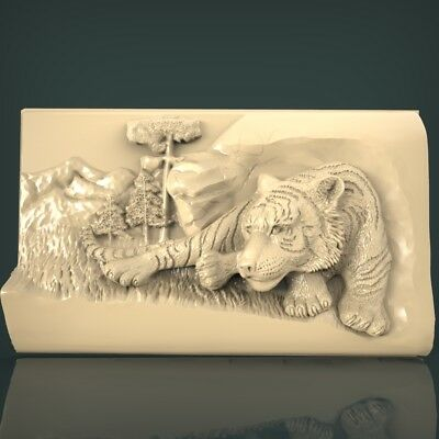 (1035) STL Model Tiger for CNC Router 3D Printer Artcam Aspire Bas Relief
