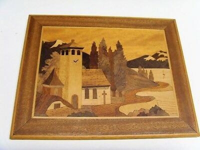 Good Condition Inlaid Wooden Marquetry Picture -  Lakeside Chapel