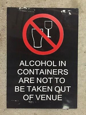 Alcohol In Containers Hard Plastic Perspex Pub Sign - Man Cave Home Brew
