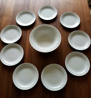 9 white Adams breakfast plates & 1 Johnson Brothers Ironstone bowl