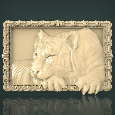 (1051) STL Model Tiger for CNC Router 3D Printer Artcam Aspire Bas Relief
