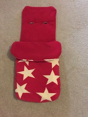 John Lewis red with white stars buggy foot muff/cosy toes excellent condition!