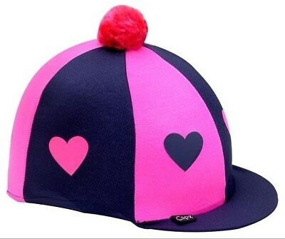 CAPZ Lycra Horse Pony Riding Hat Skull Cover - navy and pink with hearts