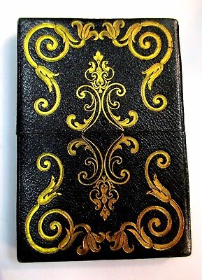 Victorian Green Leather Rare Calling Card Case w Gilded Scroll Work Decoration