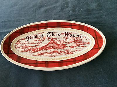 """Fitz And Floyd Town & Country """" Bless This House"""" Small Platter"""