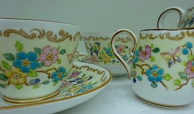 Tea For Two Service Crown Staffordshire Cups Plate Bowl Jug Butterflies # 15663
