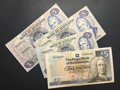 LOT BANK OF SCOTLAND 5 POUNDS: 1981-1994, FOUR VF and VF+ Banknotes, No Reserve
