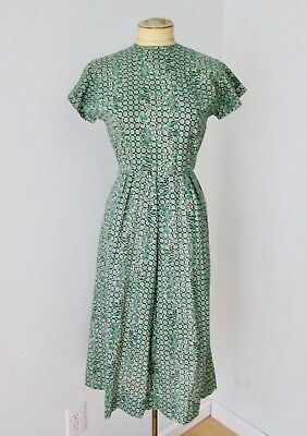 VGC Vtg 40s 50s Rockabilly Green Black Geometric Botanical Cotton Day Dress XS/S