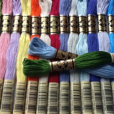 20   Dmc Cross Stitch Threads Skeins Choice Of Colours  Free Pp