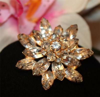 Vtg Crystal Navette, Chaton & Pear Shaped Tiered Floral Brooch- Lovely
