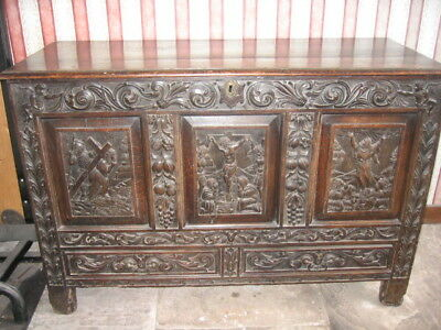 Antique  French Carved Oak Gothic Religious Church Coffer /  Mule Chest